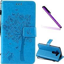 LG V10 Case Cover EMAXELER Stylish Wallet Case Diamond Embossed Kickstand Credit Cards Slot Cash Pockets PU Leather Flip For LG V10 H968 Wish Tree Blue