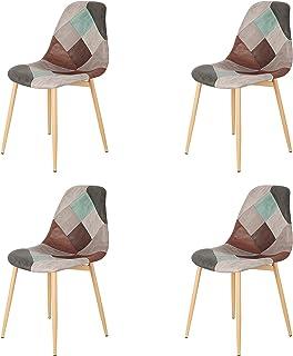 Injoy Life Lot de 4 chaises de salle à manger tendance en tissu patchwork avec pieds en métal pour salon, chambre à couche...