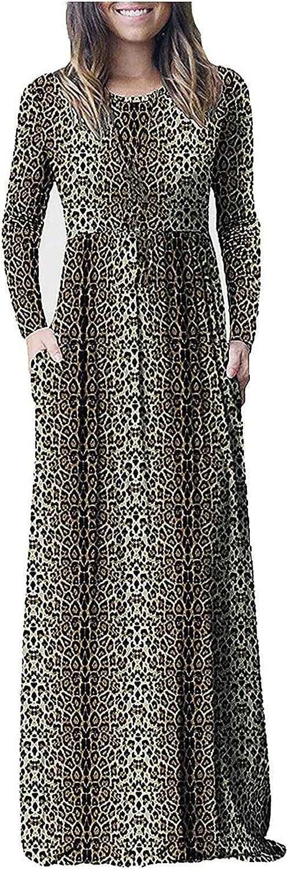 Hemlock Women Fall Long Sleeve Dress Floral Print Maxi Dress Slim Evening Party Dress Floor Length Gown Dress with Pocket
