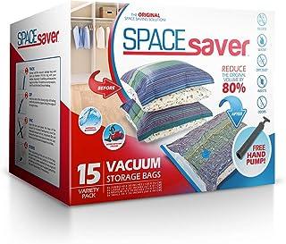 Bolsas de Almacenamiento de vacío Spacesaver Premium. ¡80% más de Almacenamiento! ¡Bomba Manual para Viajar! Doble-Zip Seal y Triple Seal Turbo-Valve para un máximo Ahorro de Espacio.