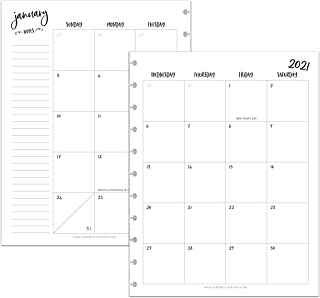 BetterNote 2021 Monthly Calendar for Disc-Bound Planners, Fits 11-Disc, Levenger Circa, Arc Staples, TUL Office Depot, Let...