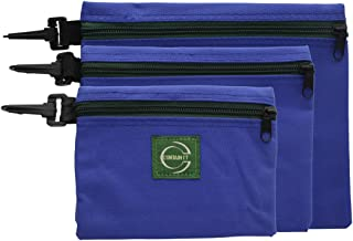 Ram-Pro 3-Piece Nylon Canvas Zipper Bags - zipper storage bags with Clips for Hanging, zipper bags Different Sizes, Multi Function Tool Pouch zipper bags for travel
