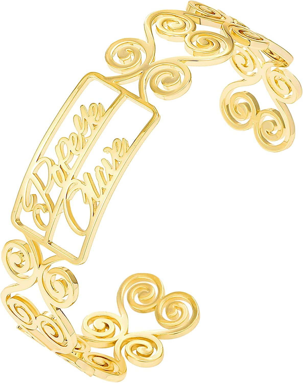 BUREI Personalized Name Bracelet Custom Name Cuff Bracelets Gold Plated Bangles Jewellery Gifts for Women Girls