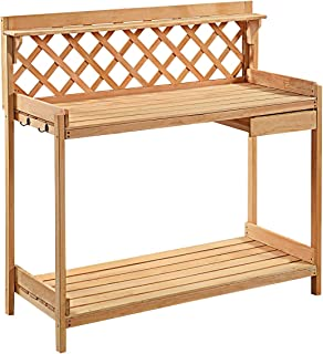 USA_Best_Seller Outdoor Patio Porch Garden Wood Work Potting Bench Station with Hook Large Top Solid Stable New Container Holder Statue Lightweight Portable