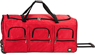 Rockland Rolling Duffel Bag, Red, 40-Inch