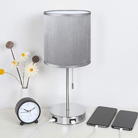 Seealle USB Beside Table Lamp with 2 USB Fast Charging Port, Bedside Desk Lamp with Grey Fabric Lampshade, Grey USB Lamp Pecfect for Bedroom,Living Room or Reading Room