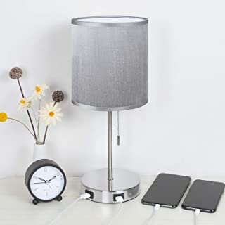 Seealle USB Beside Table Lamp with 2 USB Fast Charging Port, Bedside Desk Lamp with Grey Fabric Lampshade, Grey USB Lamp P...