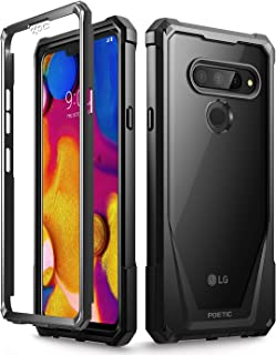 LG V40 Thin Case, LG V40 Case, Poetic Guardian [Scratch Resistant Back] [Built-in-Screen Protector] Full-Body Rugged Clear Hybrid Bumper Case for LG V40 / LG V40 ThinQ (2018) - Black