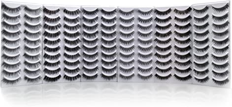 Bella Hair False Eyelashes Variety Pack, 60 Pairs Reusable Handmade Fake Eyelashes in 6 Styles, Specialized Natural Soft, Criss-Cross, Wispies Lashes for Daily, Casual Events, Daytime Outings and More
