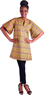 MCYSKK Women's African Wax Print Short Sleeves V-Neck Dashiki Blouse Tops Casual Shirts Plus Size