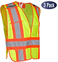 High Visibility Safety Vest – ANSI Class 2 Breakaway Vest with 5 Pockets, Yellow with Adjustable Hook and Loop Closure, Hi Vis Breathable Mesh, Heavy Duty Work Wear for Men or Women, 3 Pack (XL/XXL)