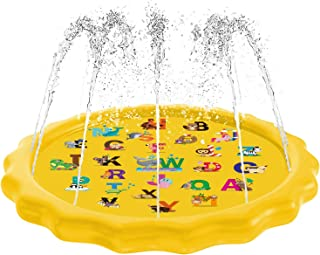 """Aquadoo Sprinkler for Kids, Splash Pad, and Wading Pool for Learning – Children's Sprinkler Pool, 68'' Inflatable Water Toys """"from A to Z"""" Outdoor Swimming Pool for Babies and Toddlers"""