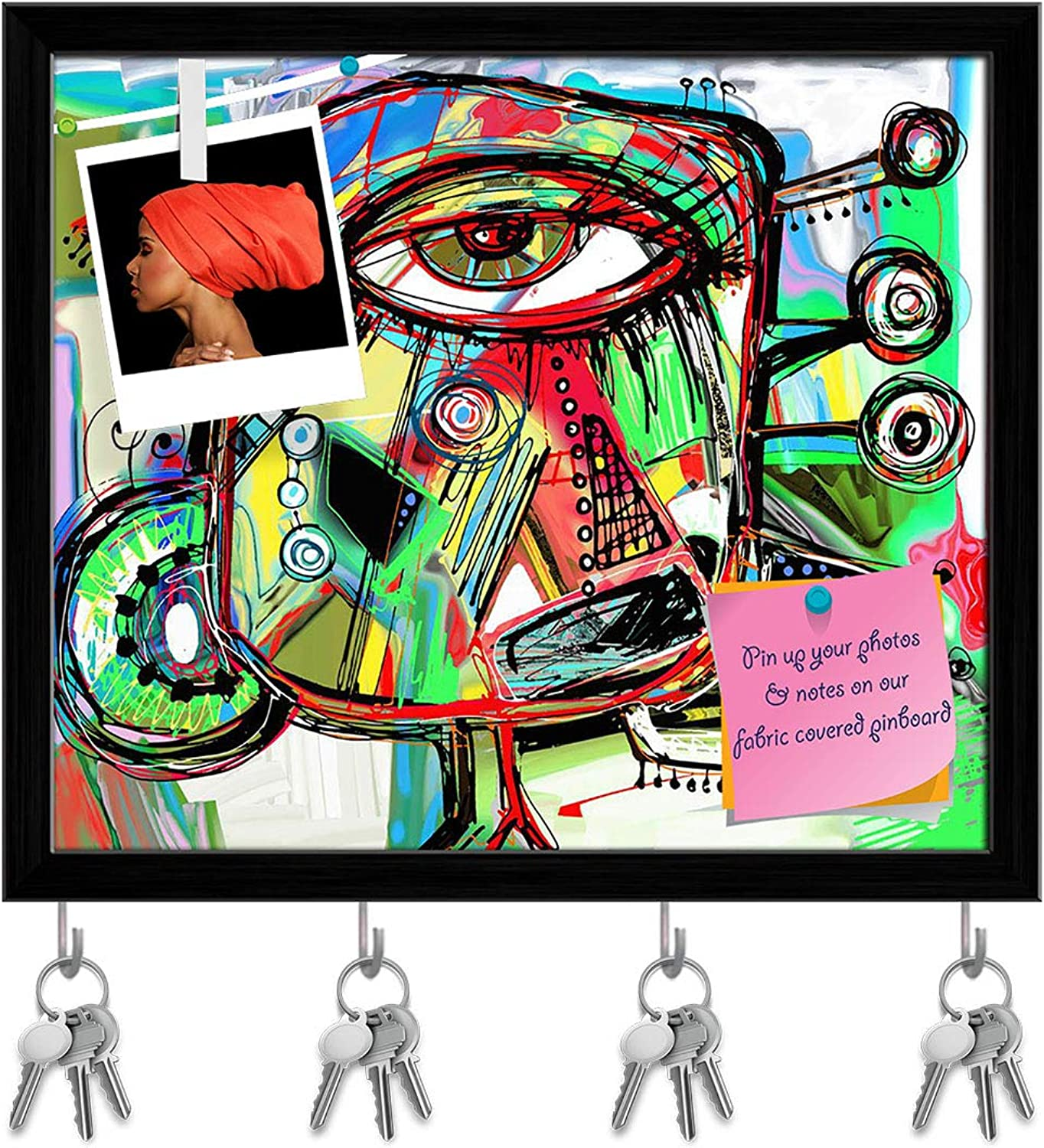Artzfolio Artwork of Doodle Bird Key Holder Hooks   Notice Pin Board   Black Frame 18.6 X 16Inch