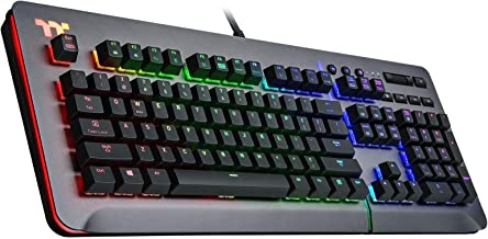 Thermaltake Level 20 RGB Titanium Aluminum Gaming Keyboard Cherry MX Blue Switches, 16.8M Color RGB, 32 Color Zone Options, Alexa Voice Control & Razer Chroma Sync Compatible, KB-LVT-BLSRUS-01