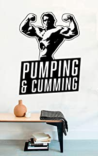 Sport Wall Vinyl Decals for Gym or Home Arnold Schwarzenegger Pumping and Cummong Bodybuilder Conquer Decor Stickers Vinyl MK7738