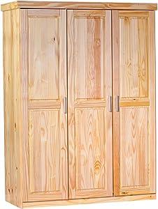 Inter Link Alpine Living Kleiderschrank Garderobenschrank Mehrzweckschrank Dielenschrank Schlafzimmerschrank Kiefer massiv Natur lackiert BxHxT: 140 x 190 x 55 cm