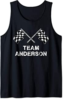 Vintage Team Anderson Family Name Checkered Flag Racing Tank Top