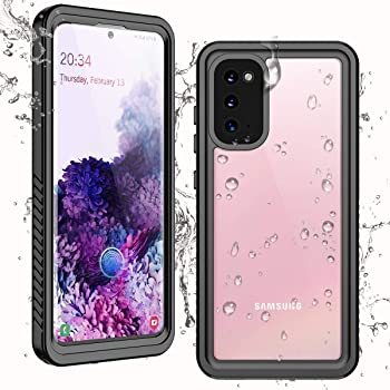 Singdo Waterproof Samsung Galaxy S20 Case,Clear Sound Quality Built in Screen Protector with Fingerprint ID Film Support Wireless Charger IP68 Waterproof Case for Samsung S20 6.2 inch-2020 (Black)