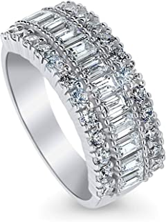 Rhodium Plated Sterling Silver Art Deco Anniversary Wedding Half Eternity Band Ring Made with Swarovski Zirconia