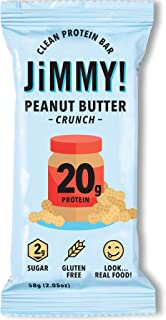 Jimmy! Peanut Butter Crunch Protein Bars, 20g Protein, Low Sugar, 12 Count