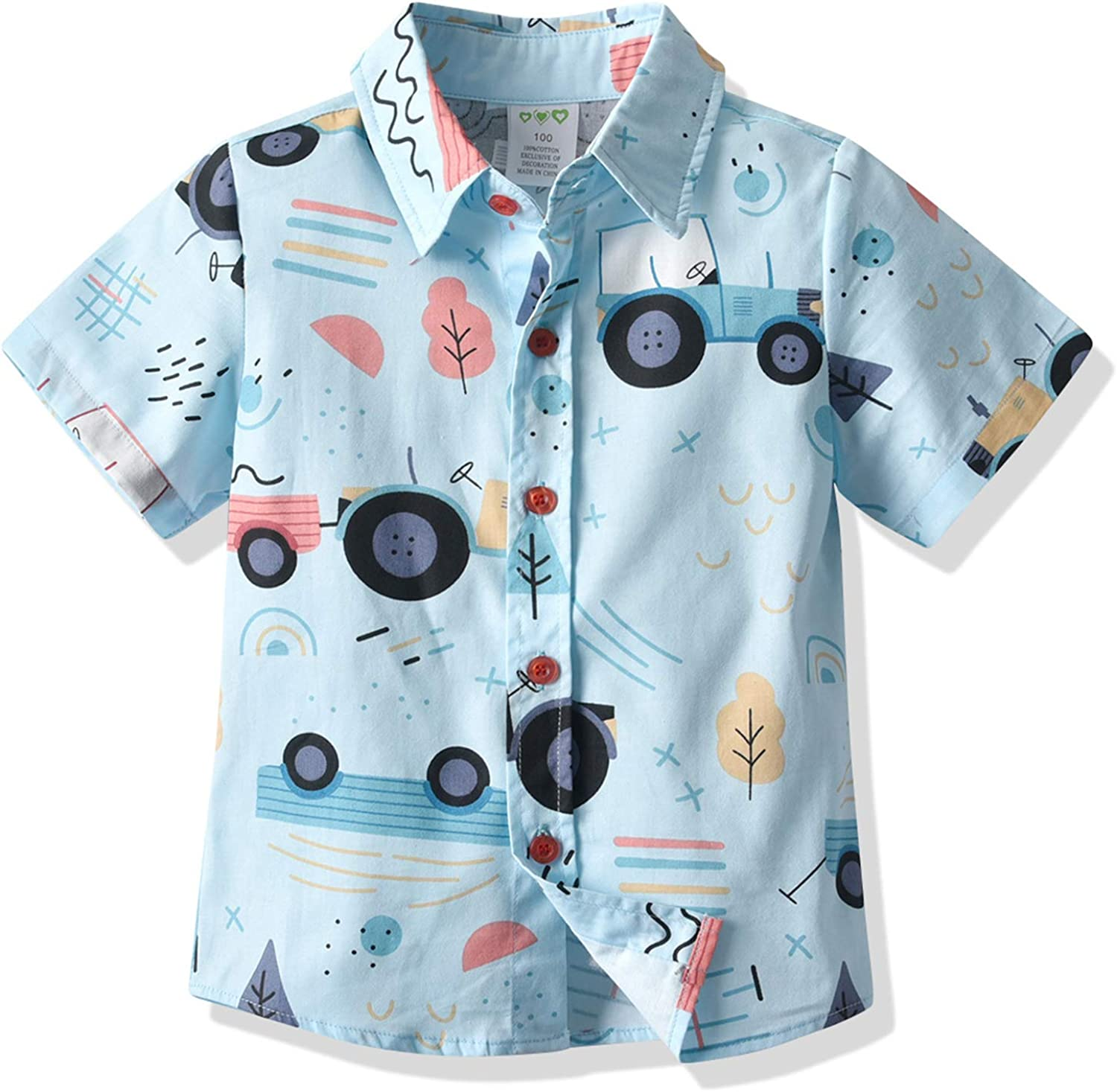 Toddler Baby Boys Hawaiian Shirts Button Down Short Sleeve Striped Plaid Print Bow Tie Casual Tops T-Shirt: Clothing, Shoes & Jewelry