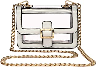 Clear Boxy Shoulder Bag Chain Strap Crossbody Purse - NFL Stadium/Concert Venues Approved