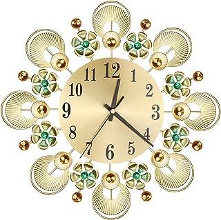 liumiKK Luxury Flower Diamond Rhinestone Wall Mounted Metal Clock Silent Living Room Bedroom Office Home Decor Art