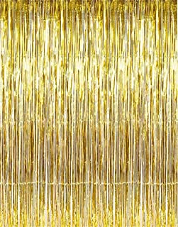 Party Curtains Metallic Foil Fringe Curtain, Photo Booth Tinsel Backdrop Door Curtains Perfect for Christmas & New Years Eve Party Decorations (Gold)