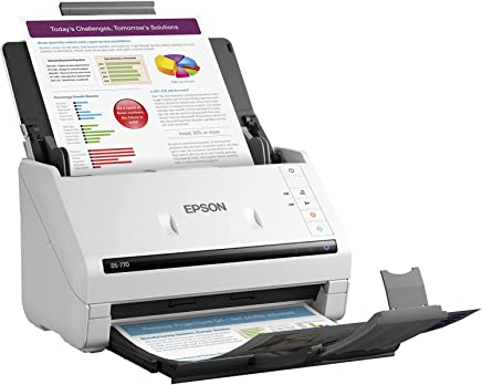 $549 » Epson DS-770 Document Scanner: 45 ppm, Twain & ISIS Drivers, 3-Year Warranty with Next Business Day Replacement