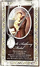 (29 6/18) Saint Anthony Genuine Pewter Medal Prayer Card Stainless Chain PATRONA Series with Copyrighted Paul Herbert Blessing