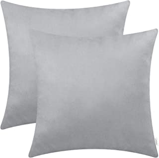CaliTime Pack of 2 Cozy Throw Pillow Covers Cases for Couch Bed Sofa Super Soft Faux Suede Solid Color Both Sides 20 X 20 Inches Silver Gray