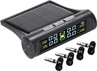 mewmewcat TPMS Sistema de monitoramento da pressão dos pneus Sistema de alarme de carro sem fio de energia solar Display L...