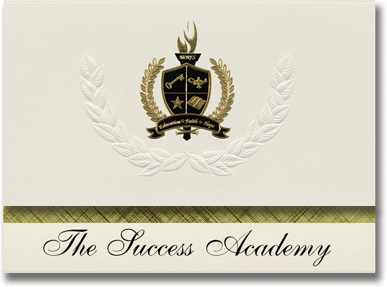 Signature Ankündigungen der Erfolg Academy (Saginaw, mi) Graduation Ankündigungen, Presidential Stil, Elite Paket 25 Stück mit Gold & Schwarz Metallic Folie Dichtung B078TSYQDH    Qualität