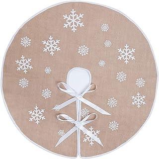 "MACTING Countryside Burlap Tree Skirt Christmas White Snowflake Printed Xmas New Year Holiday Decorations Indoor Outdoor (Khaki, 35"") …"
