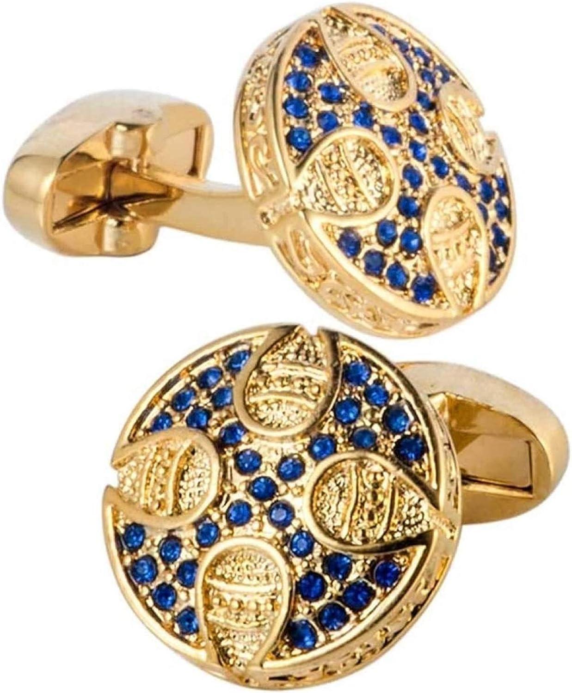 bayue Men's Cufflinks Inlaid Blue Diamond Gold Plated Cufflinks Round Sleeve Studs Shirt Buttons Zhaozb