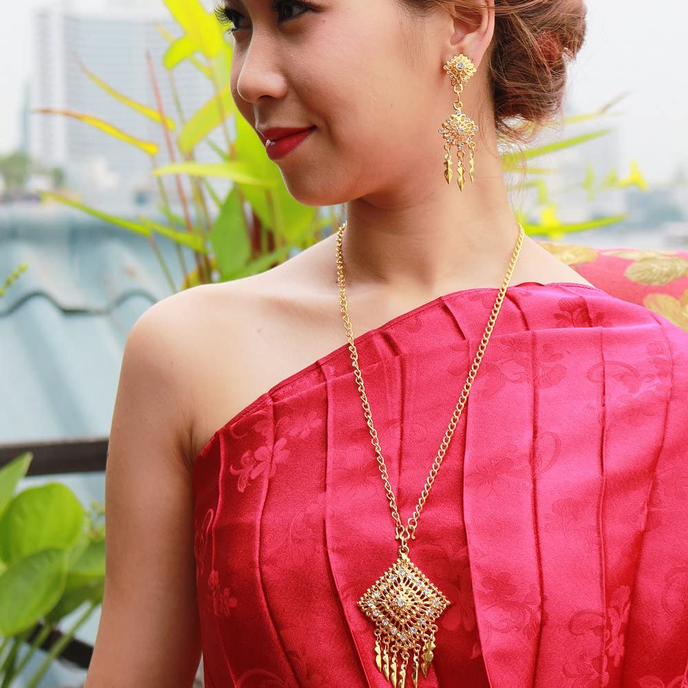 Siwalai Thai Traditional Gold Plated Clear Crystals Necklace Earrings Jewelry Set 24 Inches
