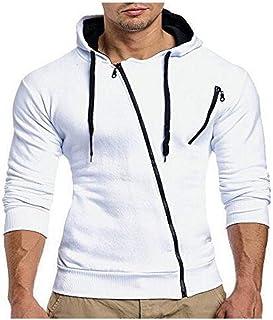 HOSD Suéter Casual con Cremallera Oblicua suéter Cardigan con Capucha Delgado Casual para Hombre