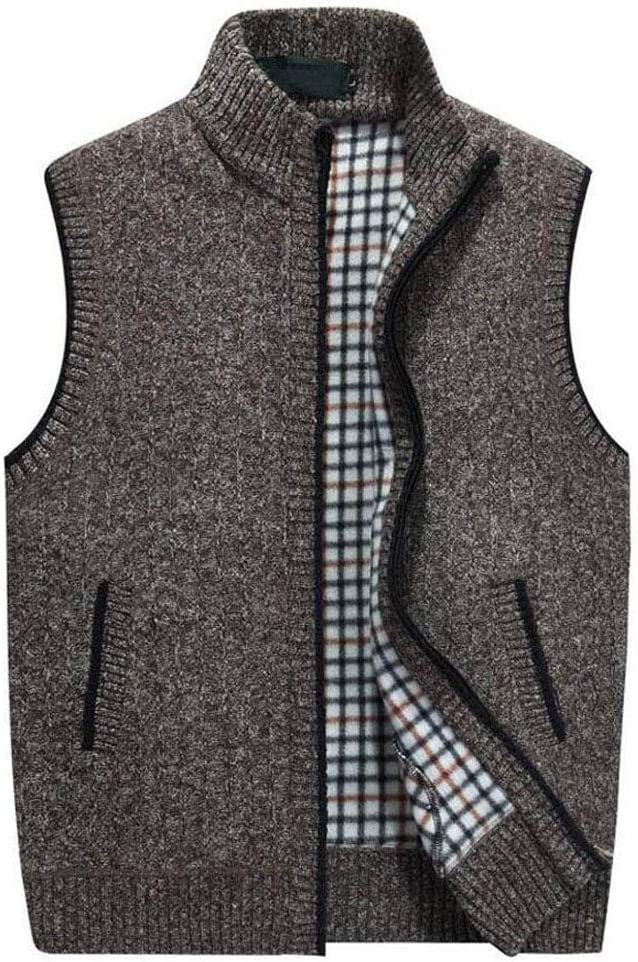 Mens Knitted Wool Vest,Fall Winter Warm Sweater Vest Fathers Birthday Gift Size M to XXXXL Color : GRAY, Size : XXXXL