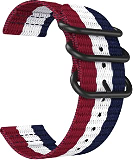 Emibele 20mm Universal Watch Band, Fine Woven Nylon with Stainless Steel Buckle Adjustable Replacement Band for 20mm Sport Strap, Blue & White & Red