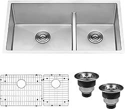 Ruvati 33-inch Low-Divide Undermount Tight Radius 60/40 Double Bowl 16 Gauge Stainless Steel Kitchen Sink - RVH7419