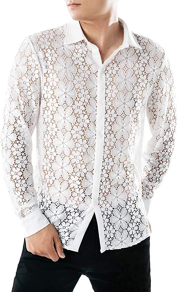 MODOQO Men's Long Sleeve Shirt Casual Fashion Hollow Button Down Shirt Lace Top