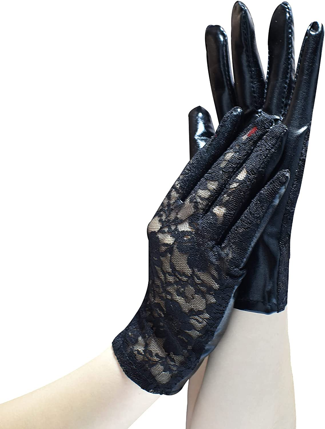 ATHX Women Fishnet Wrist Length Gloves with PU Leather Palm