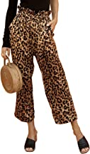 Doballa Women's Leopard Print Pants Casual Cropped Paper Bag Waist Trouser with Pockets