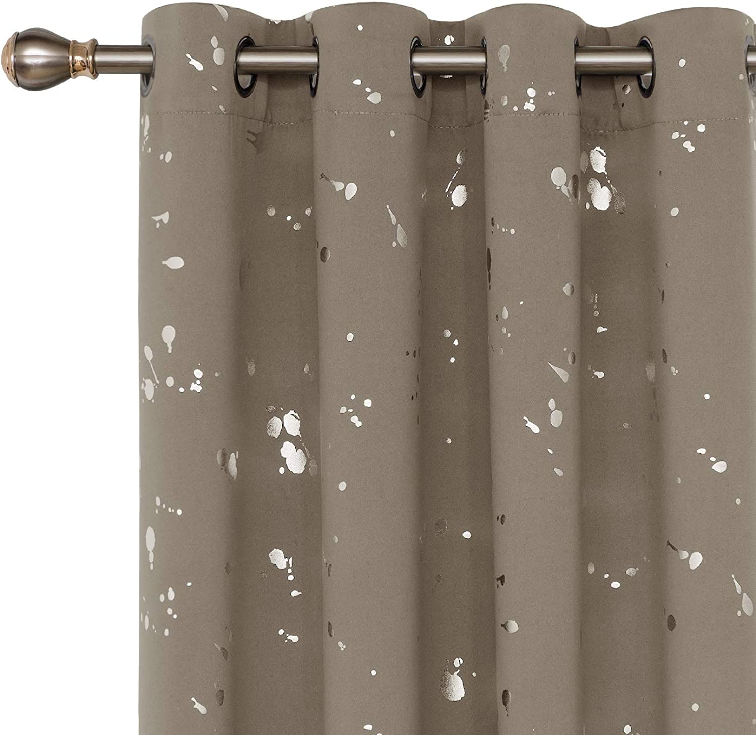 Deconovo Silver Dots Printed Thermal Insulated Blackout Curtains with Grommet Top Light Blocking Curtains for Bedroom 52 W x 84 L Taupe 2 Panels