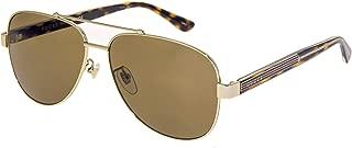 GG0528S WEB 0528 Gold Crystal Havana Aviator Metal Sunglasses Unisex