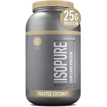 Isopure Low Carb, Vitamin C and Zinc for Immune Support, 25g Protein, Keto Friendly Protein Powder, 100% Whey Protein Isolate, Flavor: Toasted Coconut, 3 Pounds (Packaging May Vary)