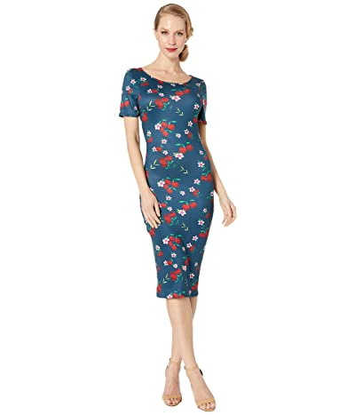 Unique Vintage 1960s Style Knit Presley Wiggle Dress (Navy/Cherry Floral) Women