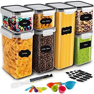 Airtight Food Storage Containers, MOICO 7 PC Plastic Cereal Storage Container with Lids BPA Free, 24 Labels, Spoon Set & P...