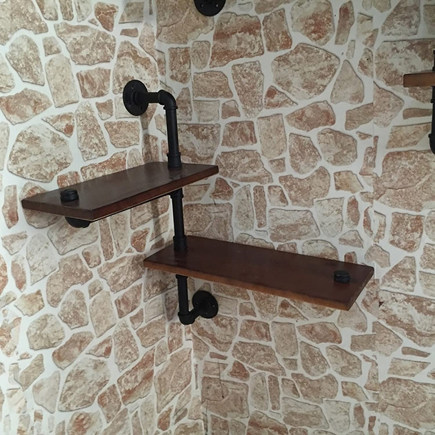 LOFT Retro Iron Bookshelves Solid Wood Wall Hanging Shelves Plant Display Stand Wall Shelves ( color   A )
