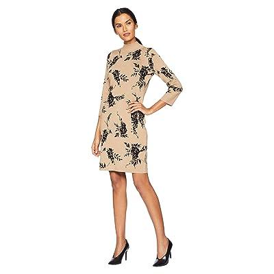 Calvin Klein Mock Neck Sweater Dress (Camel/Black) Women